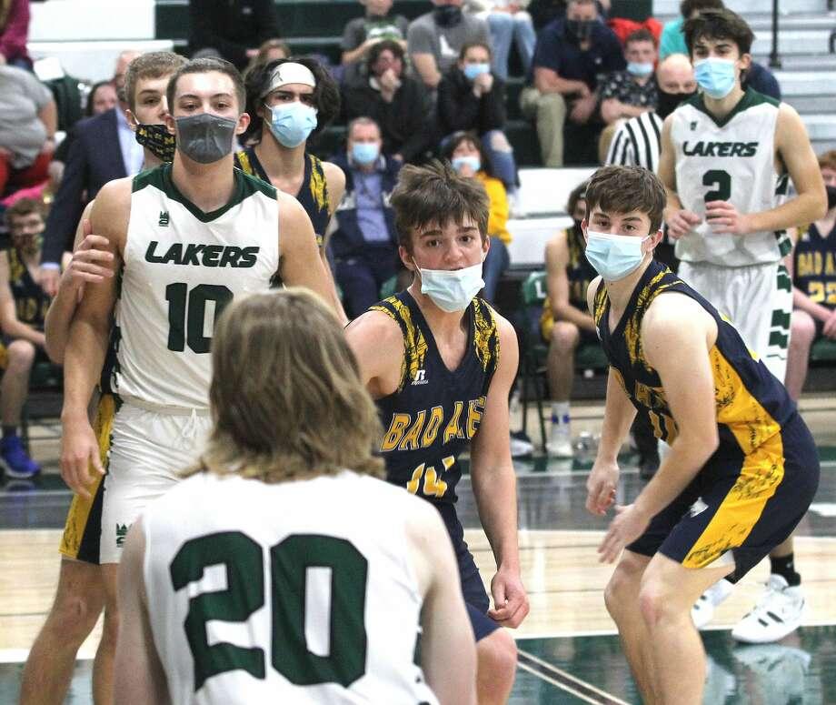 The Bad Axe boys basketball team picked up a 59-46 win over host Laker on Friday night. Photo: Mark Birdsall/Huron Daily Tribune