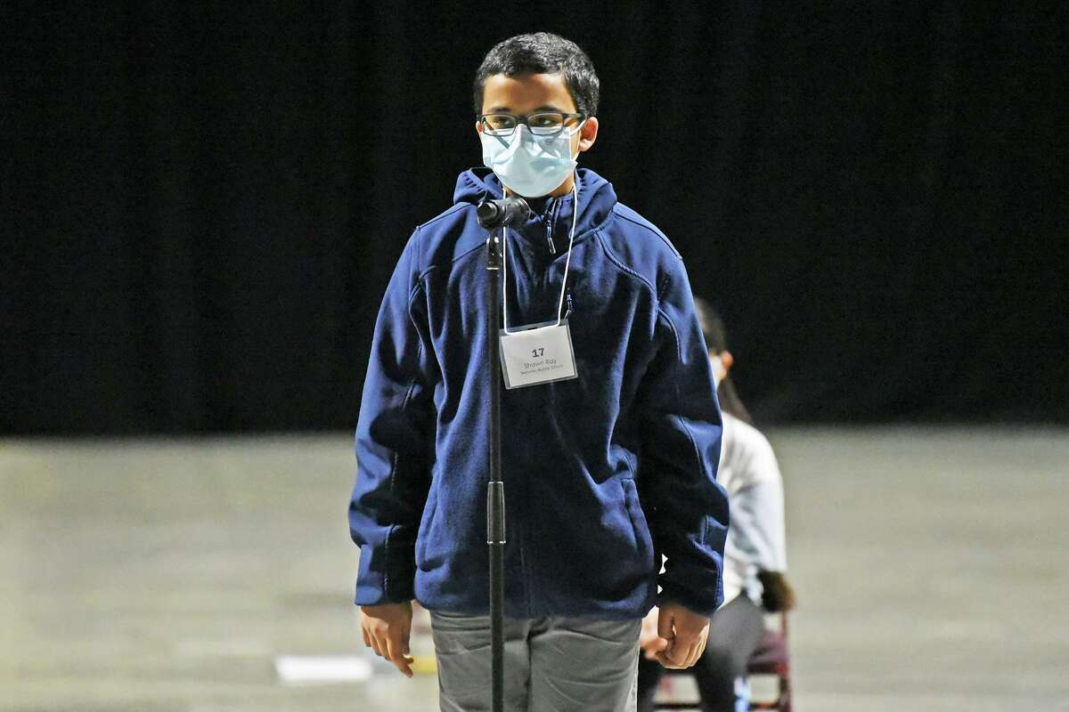 Eighth-grade student Shawn Ray of Salyards Middle School won his third consecutive championship in the Middle School Spelling Bee on Feb. 9 at the Berry Center.