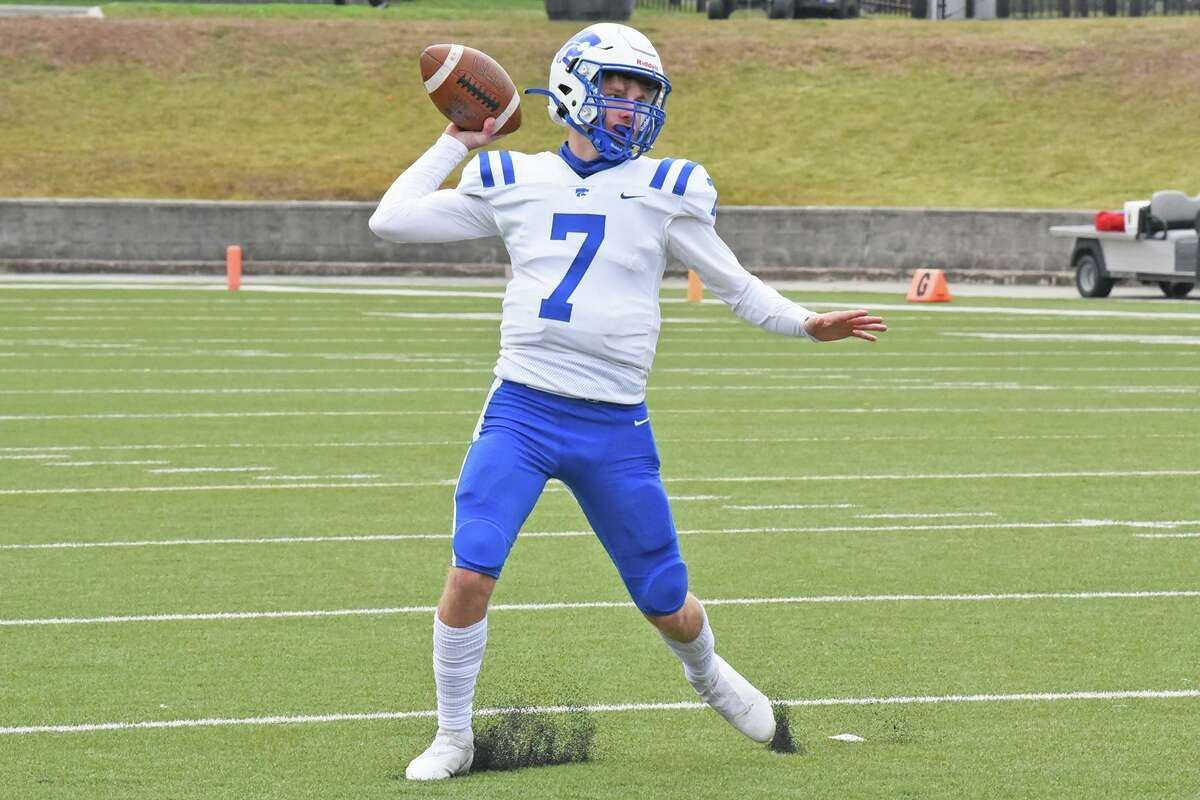 Cypress Creek freshman quarterback Brad Jackson prepares to throw a pass during a game against Heights High School on Dec. 12, 2020. Jackson was named Houston Chronicle's All-Greater Houston Newcomer of the Year.
