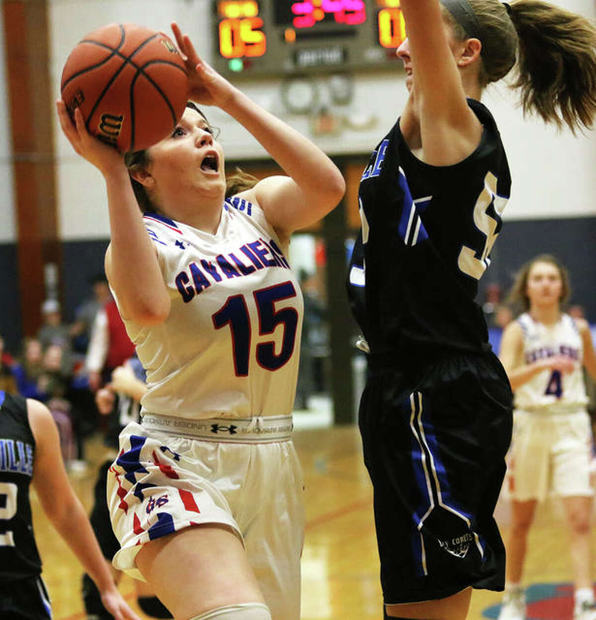 Carlinville's Gracie Reels (15) scored 15 points to help Carlinville to a 56-25 win over Kincade South Fork Friday night.