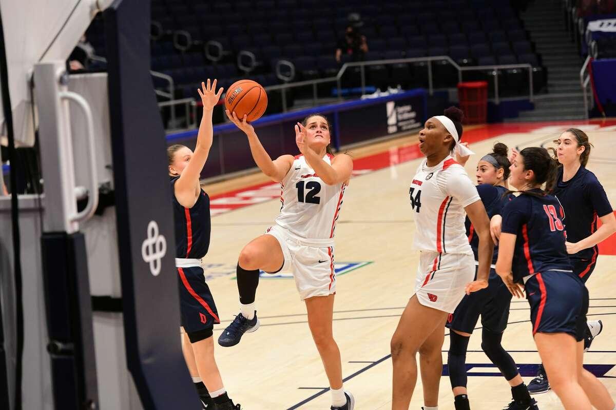 Bethlehem graduate Jenna Giacone of Dayton women's basketball goes to the basket against Duquesne in January.