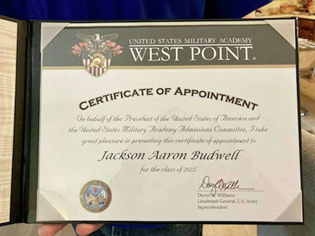 This is the certificate of appointment presented to Edwardsville High School senior Jackson Budwell, who has been accepted to the United States Military Academy in West Point, New York.