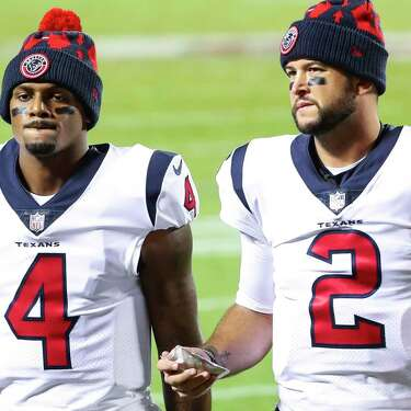AJ McCarron (2) backed up Deshaun Watson the past two years and will be a free agent. Could he be a candidate to start if Watson and the Texans remain in a standoff about his trade request?