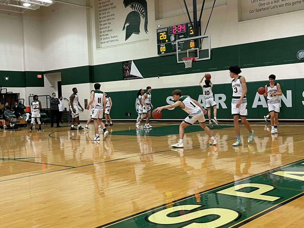 Stratford warms up before the beginning of the second half of its regular season finale against Cy-Fair at Stratford High School on Feb. 12