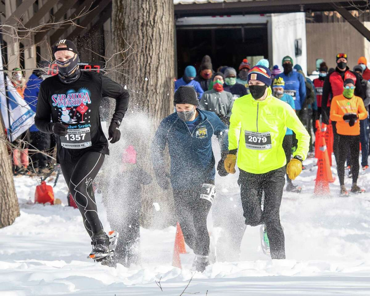 Racers compete in the Brave the Blizzard 5K Snowshoe Race at Tawasentha Park in Guilderland, NY, on Saturday, Feb. 13, 2021 (Jim Franco/special to the Times Union.)