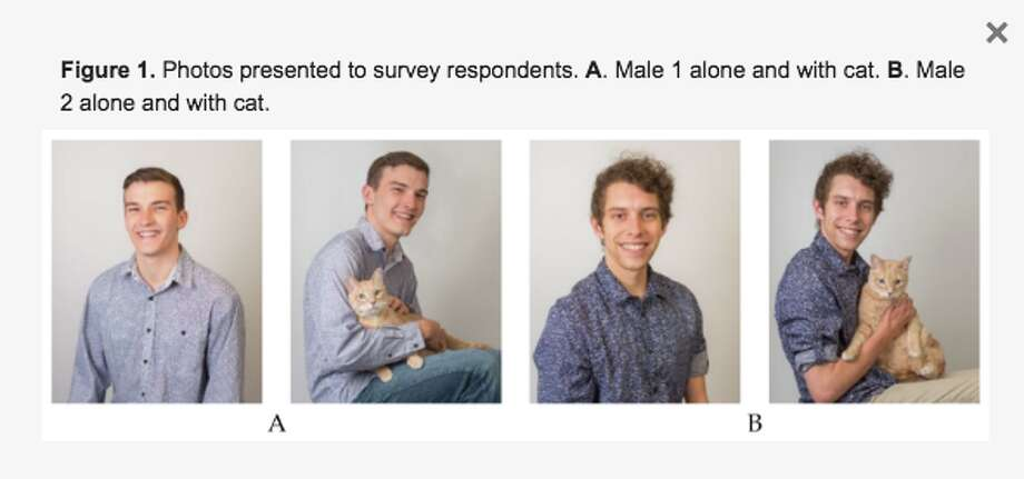 """These were 20 and 21 year old """"preppy"""" males that women were asked to choose between dating, with their cat. Photo: Screenshot / Colorado State University"""