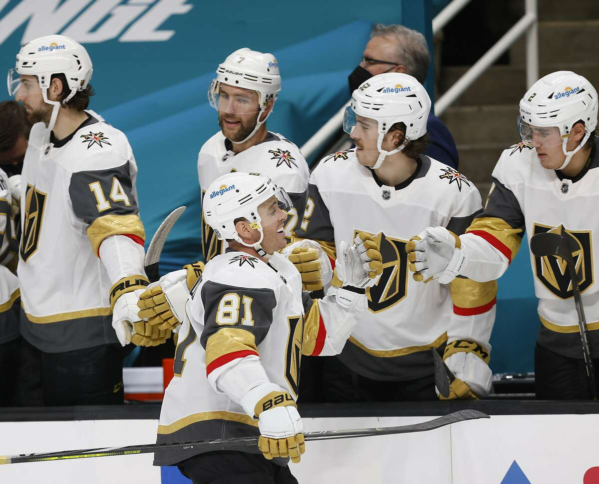Vegas Golden Knights center Jonathan Marchessault (81) celebrates with the bench after opening the scoring in San Jose.