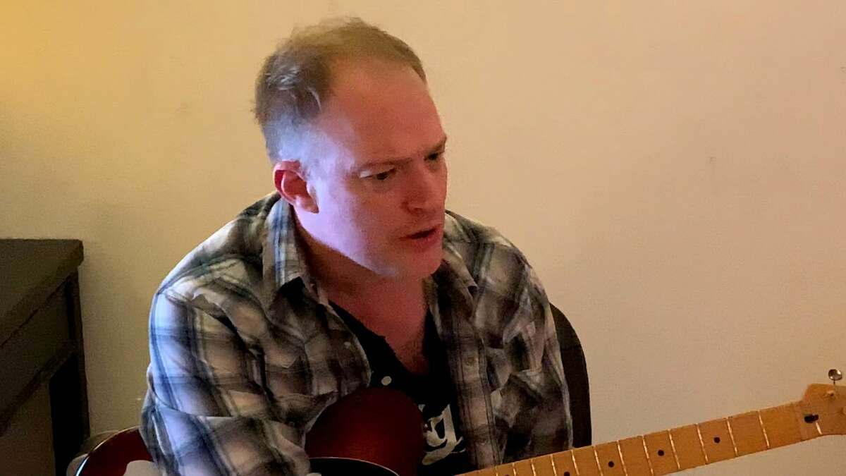 Josh Chambers in a California recording studio in December 2020. He was working with on a new album of his original songs. Chambers died Feb. 12, 2021, at age 45, three weeks after falling into a coma following bleeding in his brain. (Provided photo.)