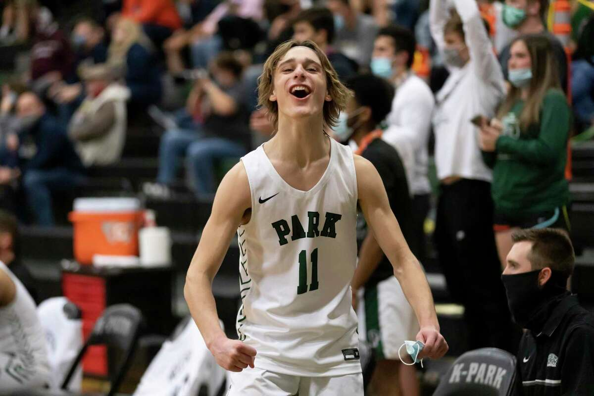Kingwood Park Jack Keller (11) react after they win against Lake Creek in District 20-5A boys basketball game at Kingwood Park High School, Wednesday, Jan. 27, 2021 in Kingwood.
