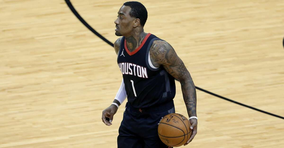 Houston Rockets guard John Wall (1) during the first half of an NBA basketball game Saturday, Feb. 6, 2021, in Houston. (AP Photo/Michael Wyke)