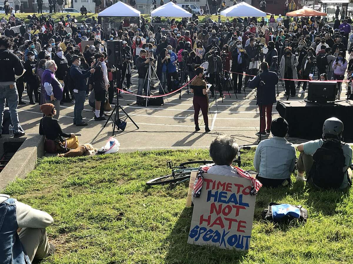 Hundreds gather in Madison Square Park in Oakland to call for an end to violence against Asian Americans. Another rally is planned for 1 to 3 p.m. Sunday at San Francisco Civic Center.