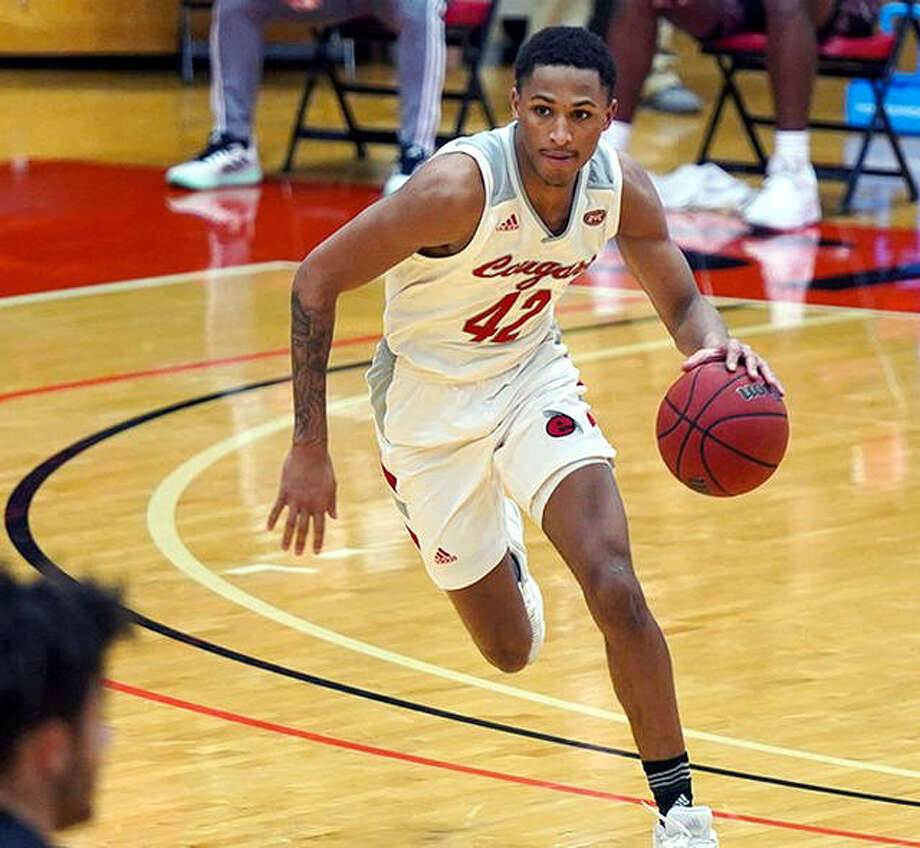 Shamar Wright of SIUE scored 11 points, but his Cougars fell at Jacksonville State Saturday. SIUE has never won at Jacksonville State. Photo: SIUE Athletics
