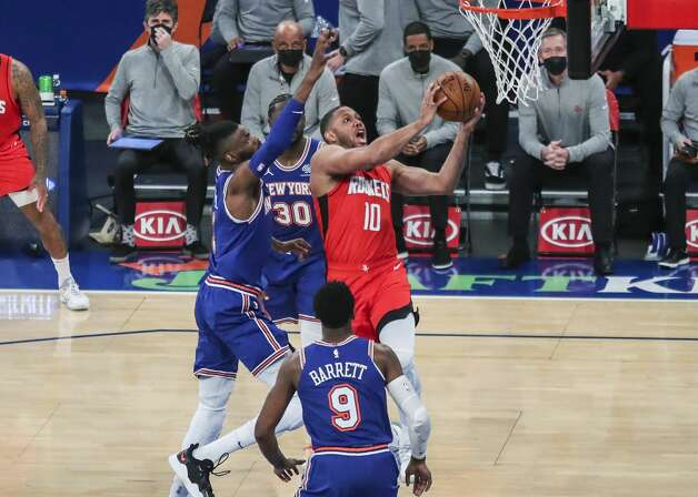 Houston Rockets guard Eric Gordon (10) drives to the basket for a layup against the New York Knicks during the first quarter of an NBA basketball game Saturday, Feb. 13, 2021, in New York. (Wendell Cruz/Pool Photo via AP) Photo: Wendell Cruz/Associated Press / Wendell Cruz