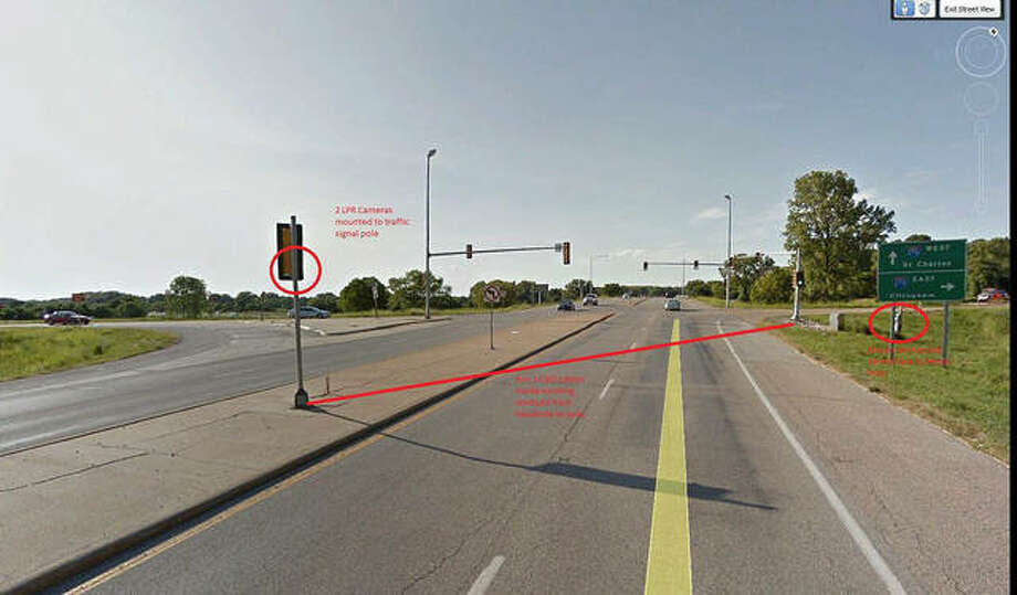 This photo illustration shows where and how the license plate reader system would work on northbound and southbound Route 157, just south of Interstate 270. Photo: Courtesy Of The Village Of Glen Carbon