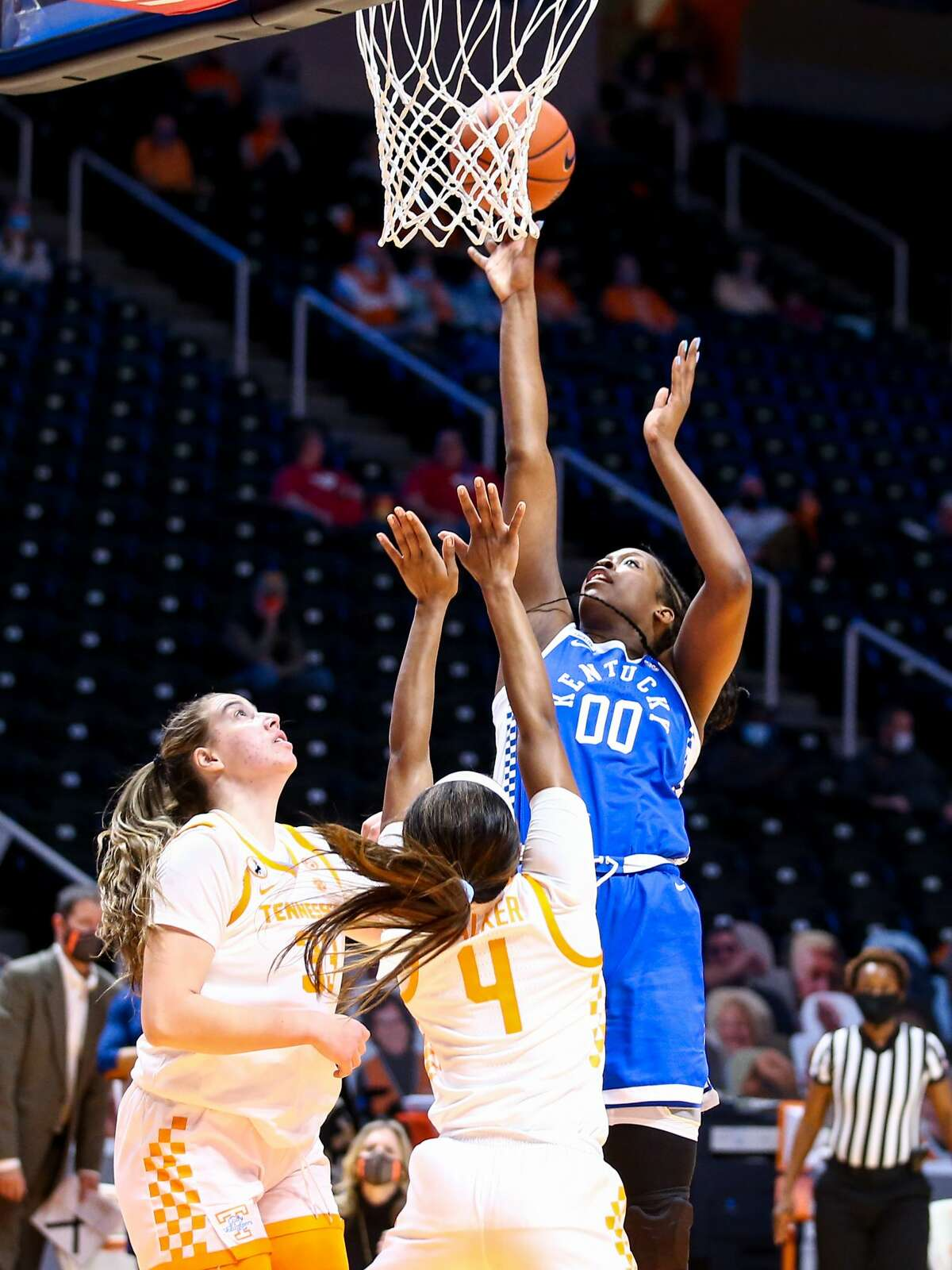 Olivia Owens in the Wildcats' 70-53 SEC loss to Tennessee on Jan. 24. The 20th-ranked Wildcats upset the 16th-ranked Vols on Thursday, 71-56. Photo by Eddie Justice | UK Athletics