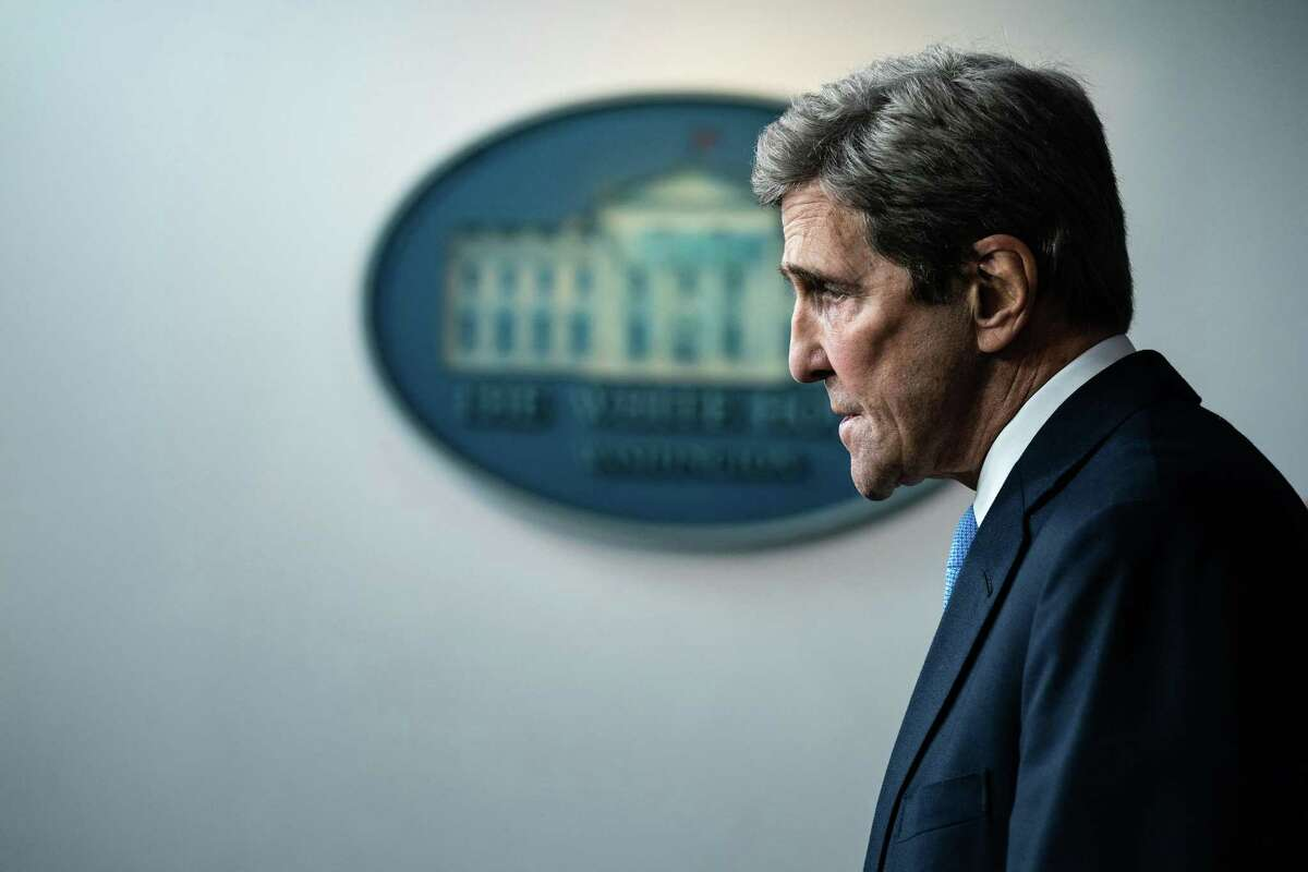 John Kerry, the global envoy for climate change, addresses a news conference at the White House in Washington, Wednesday, Jan. 27, 2021. (Anna Moneymaker/The New York Times)