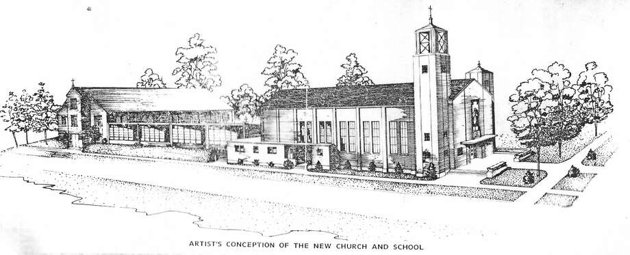 A drawing of the plans for the new St. Mary's Church (extending along Third Street from Sycamore to Maple Street) was published in the June 17, 1953 issue of the Manistee News Advocate. The plans were later abandoned after a new directive by Bishop Babcock zoned Manistee's Catholic churches. (Manistee County Historical Museum photo) Photo: Manistee County Historical Museum Photo