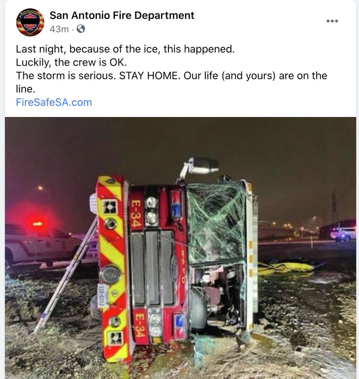 The San Antonio Fire Department shared the image of the truck that slid into an embankment.