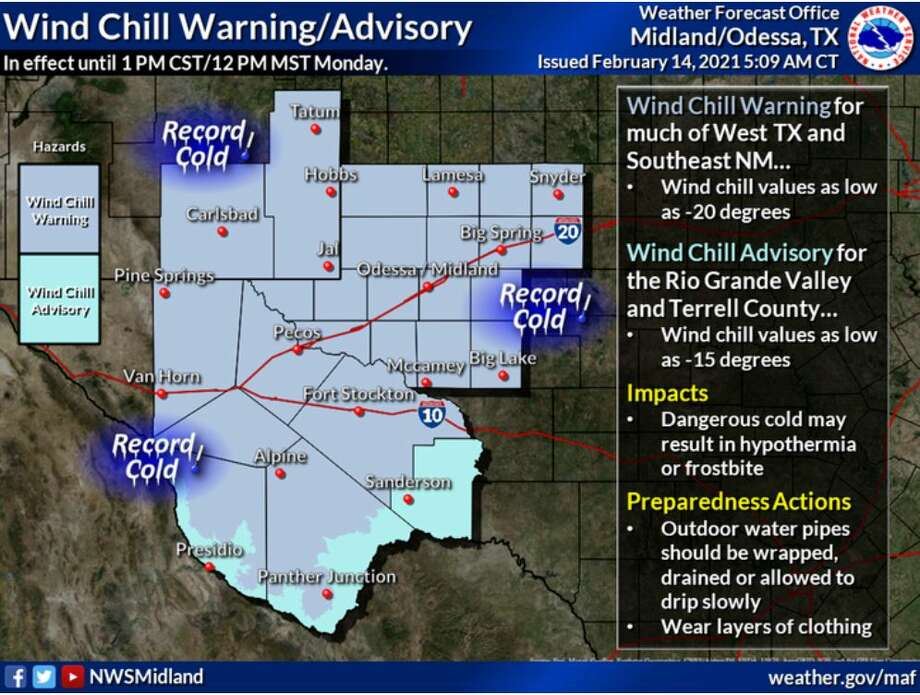 A Wind Chill Warning and Advisory is in effect until Monday afternoon. Wind chills between -15 to -20 degrees expected! These wind chills could result in hypothermia or frostbite. Photo: National Weather Service
