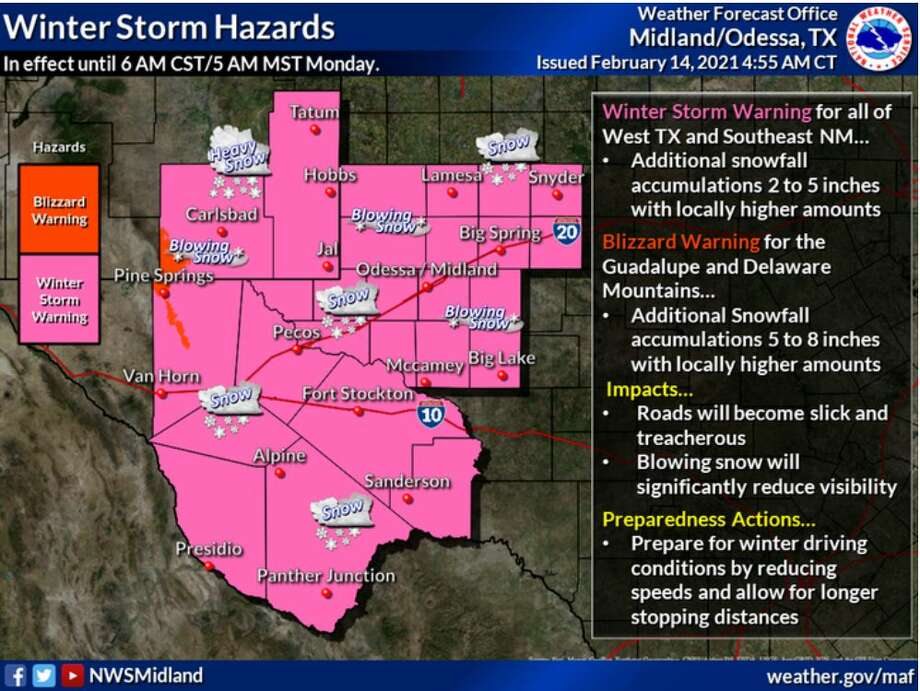 A Winter Storm Warning is in effect for the entire region with a Blizzard warning for the Guadalupe and Delaware Mountains until early Monday. Snow will be heavy at times with blowing snow expected which will create drifts. Photo: National Weather Service
