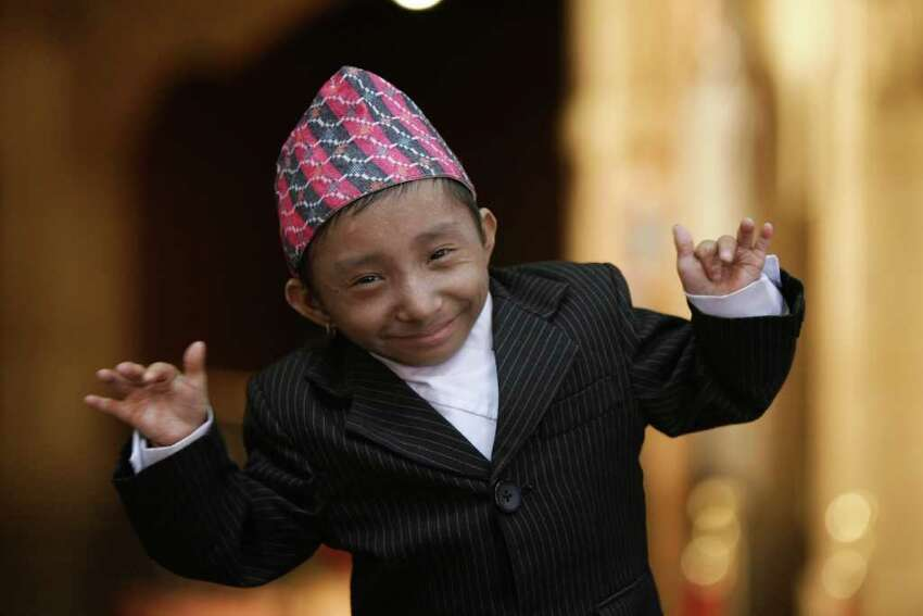 NEW YORK - SEPTEMBER 07: Khagendra Thapa Magar, the worlds smallest teenager at 22 inches tall visits Ripley's Believe It or Not on September 7, 2010 in New York City. (Photo by Neilson Barnard/Getty Images) *** Local Caption *** Khagendra Thapa Magar