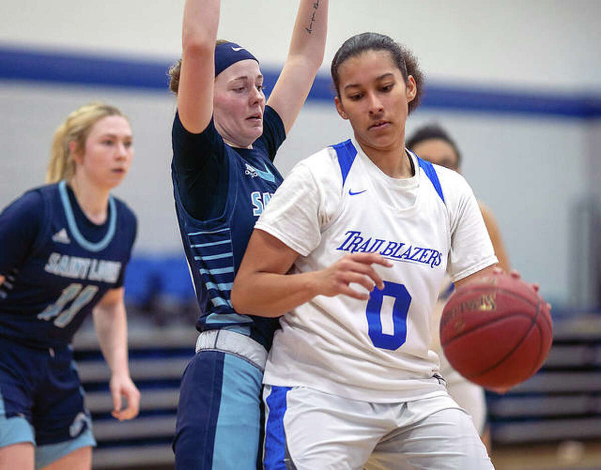 Mary Penland-Holmes of Lewis and Clark (0) scored 12 points, all in the second half, in the Trailblazers' loss at Danville Area College Sunday.