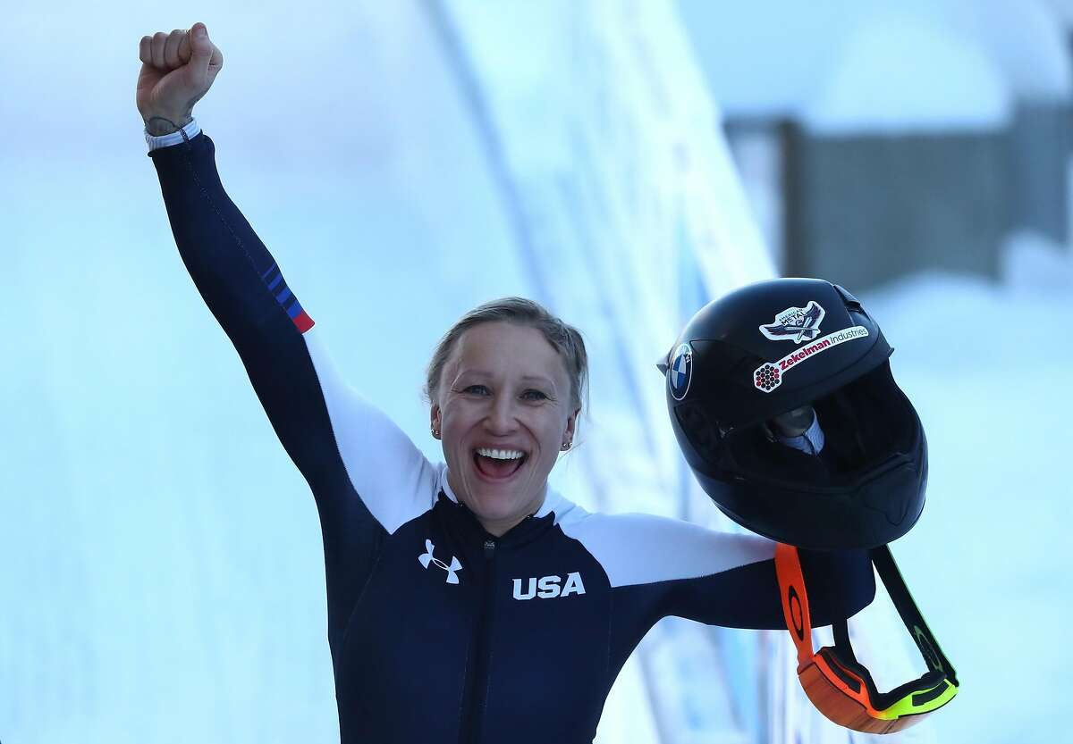 Kaillie Humphries of the U.S. celebrates winning the women's monobob at the world championships in Altenberg, Germany.