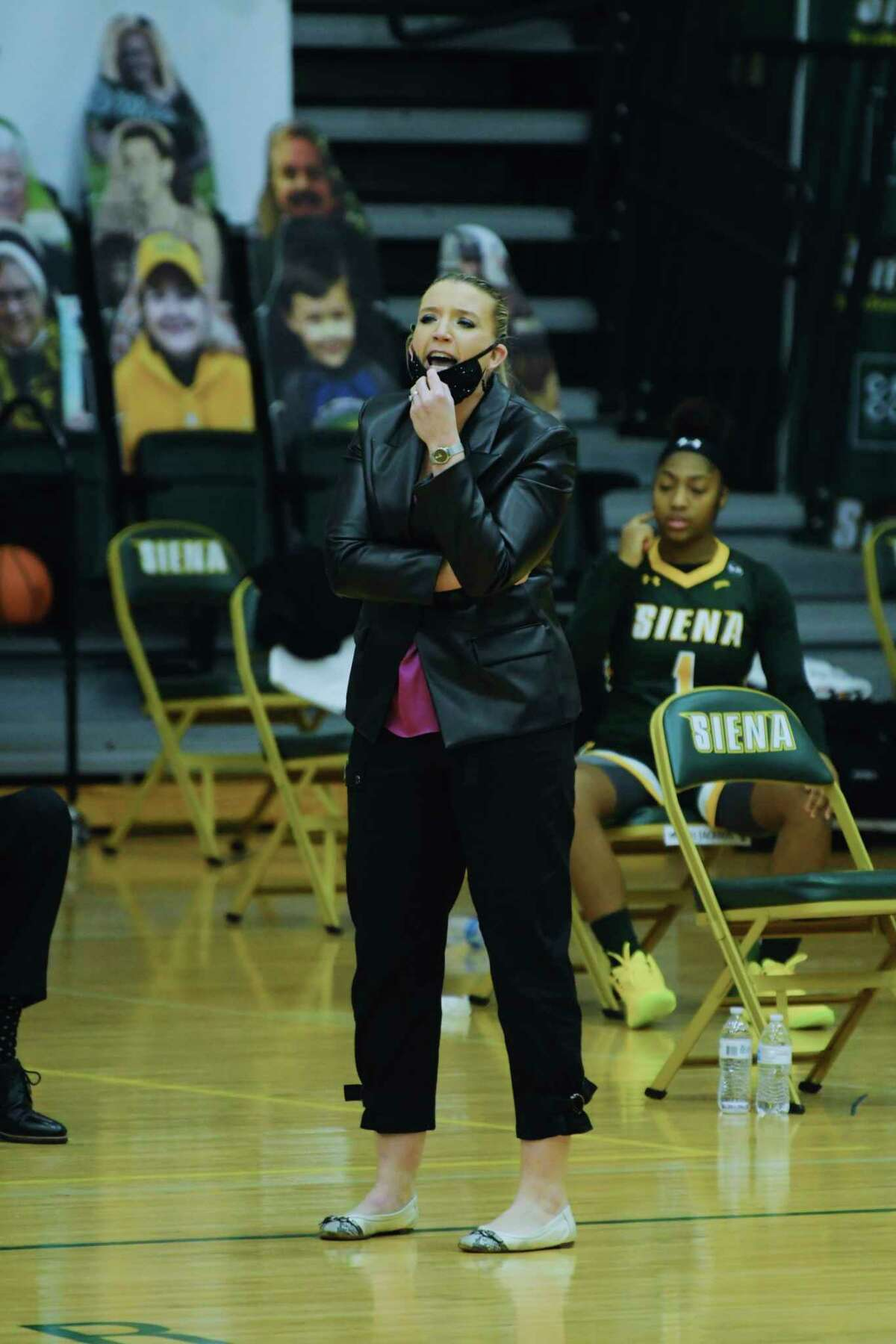Siena College women's basketball coach, Ali Jaques, yells to her players during their game against Marist College on Sunday, Feb. 14, 2021, in Loudonville, N.Y. (Paul Buckowski/Times Union)