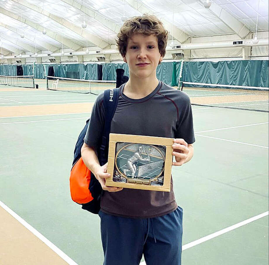 Bradley Bower, a freshman at Marquette Catholic High School, captured the championship of the 18 and Under Gateway Masters Tennis Championships Saturday night at the Chesterfield Athletic Club in St. Louis. Photo: Submitted Photo