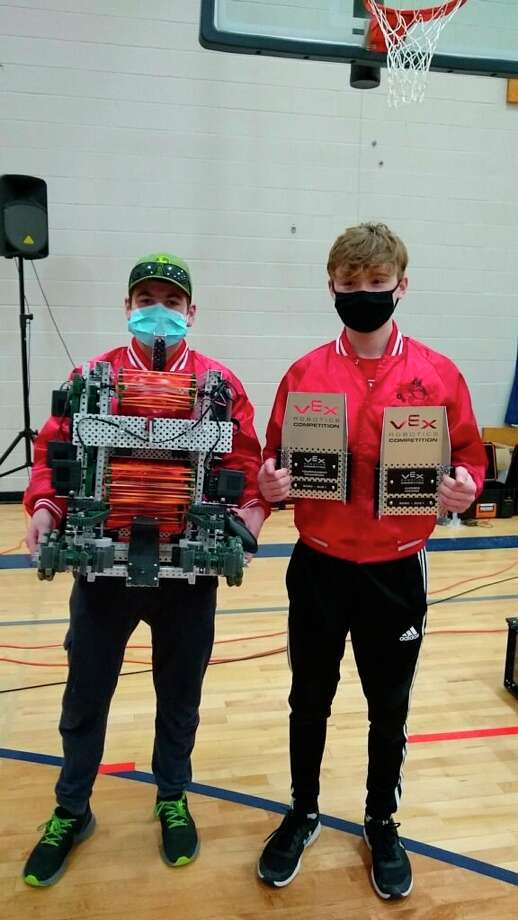 David McGee and Emmett Jaquish won were tournament champions at a VEX Robotics Challenge in Traverse City, which took place at the same time the VEX IQ challenge was happening at Benzie Central High School. (Courtesy Photo)