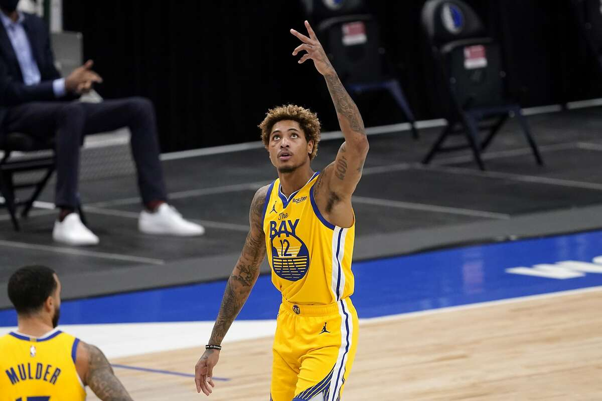 Warriors guard Kelly Oubre Jr. after hitting a 3-point shot during a win in Dallas on Feb. 4.