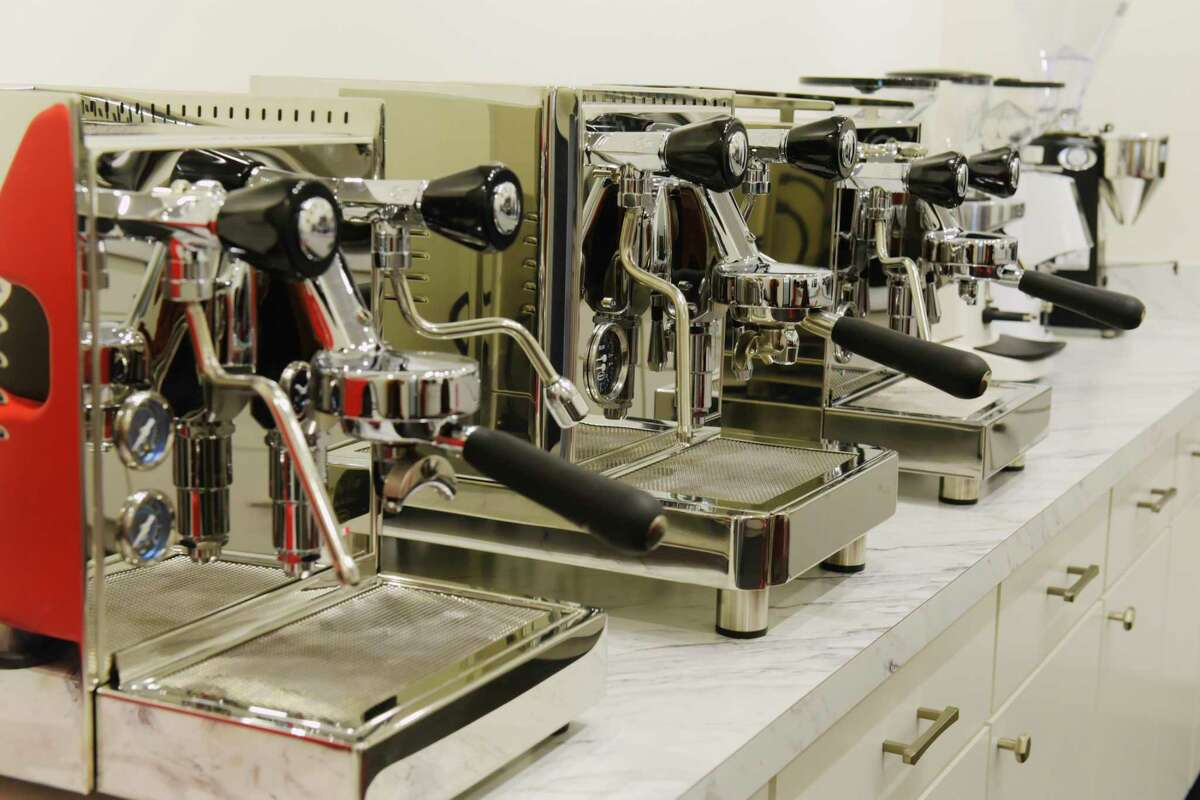 A view of some of the espresso machines and grinders in the display room at Chris' Coffee on Wednesday, Feb. 10, 2021, in Latham, N.Y. (Paul Buckowski/Times Union)