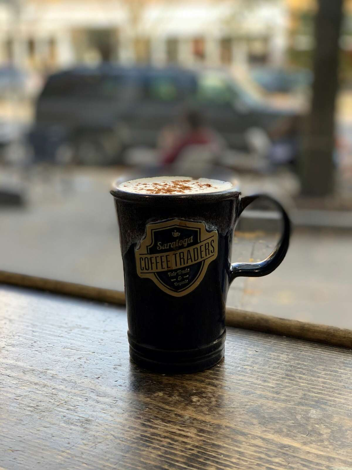 A latte from Saratoga Coffee Traders on Broadway.