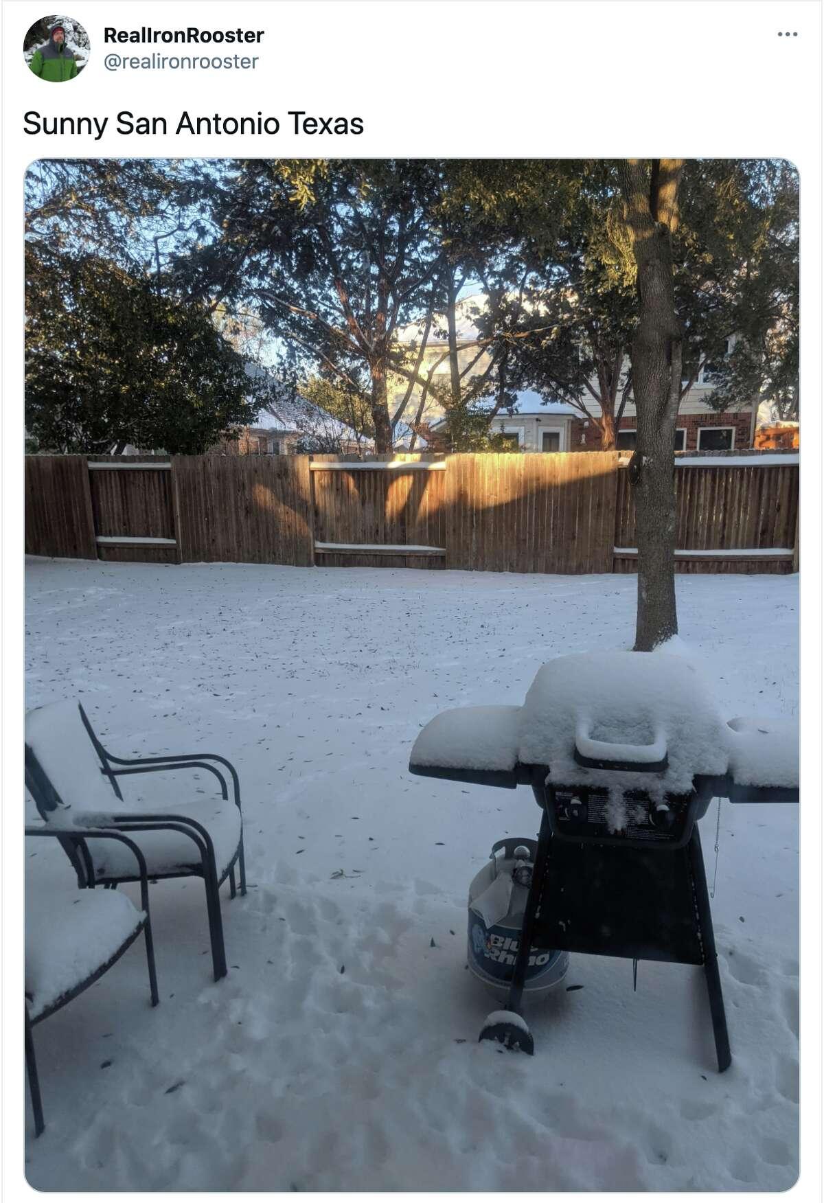 San Antonio reacts to snowfall throughout the city, February 15, 2021.