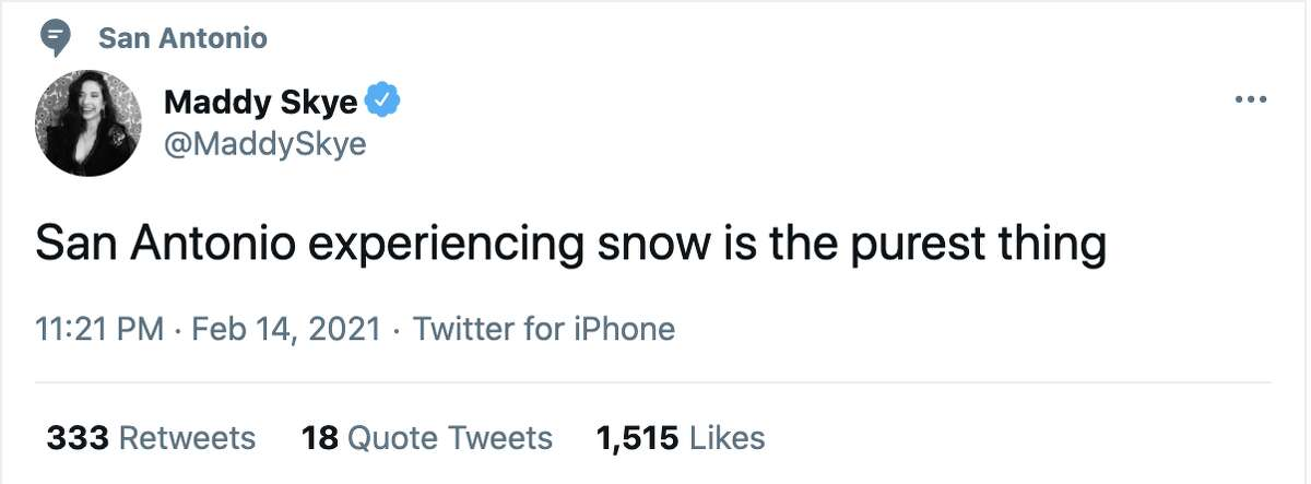 San Antonio residents react to snow in the aea, on February 15, 2021.