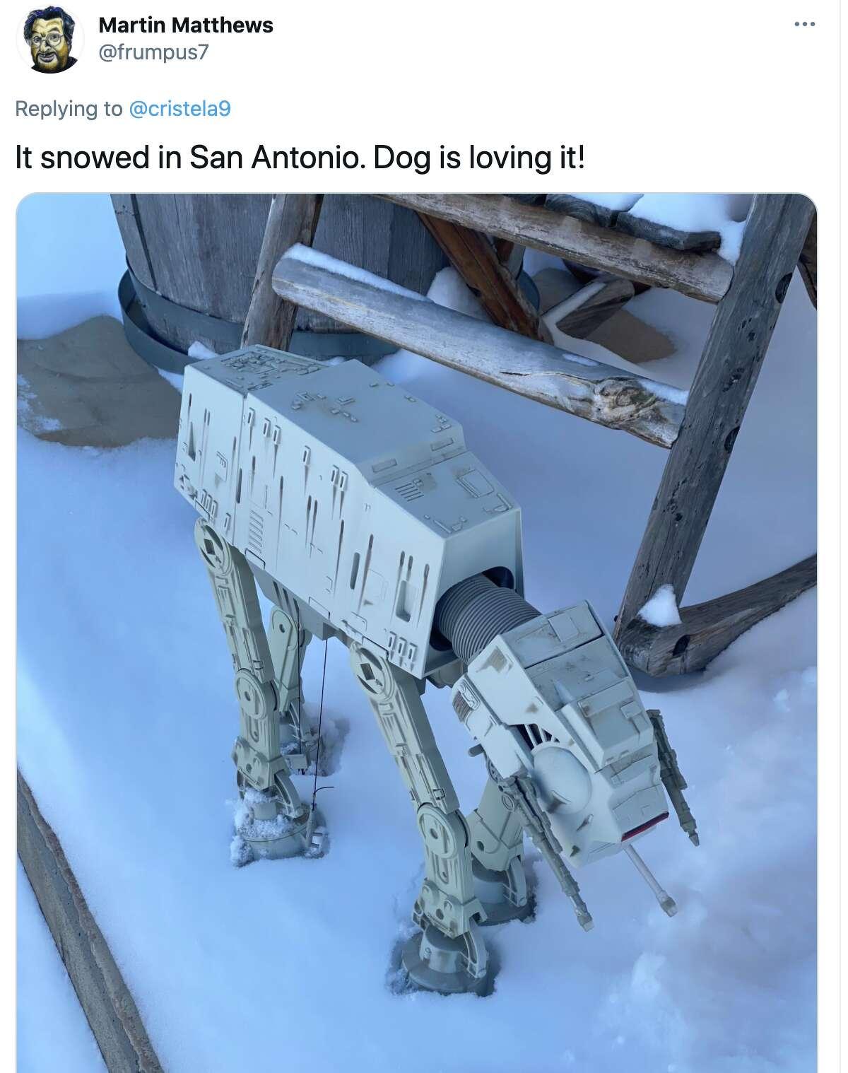 San Antonio residents react to snow in the area, February 15, 2021.