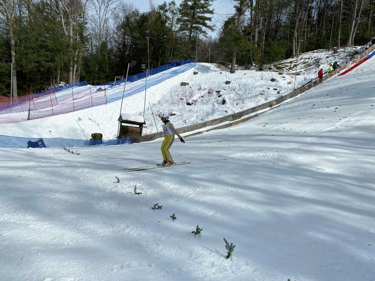 A ski jumper in competition