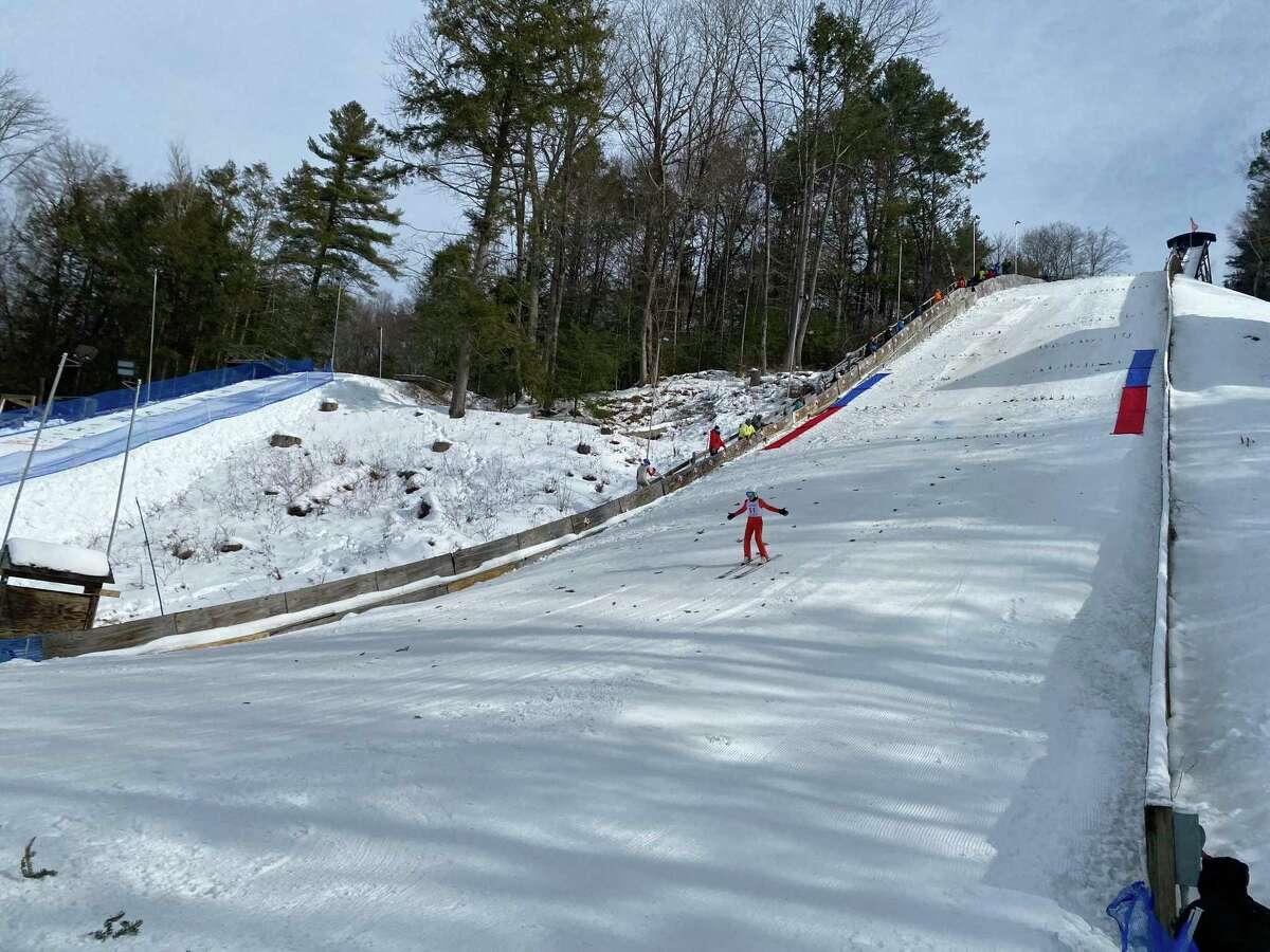 A ski jumper competing at Salisbury Winter Sports Association's 95th annual JumpFest.