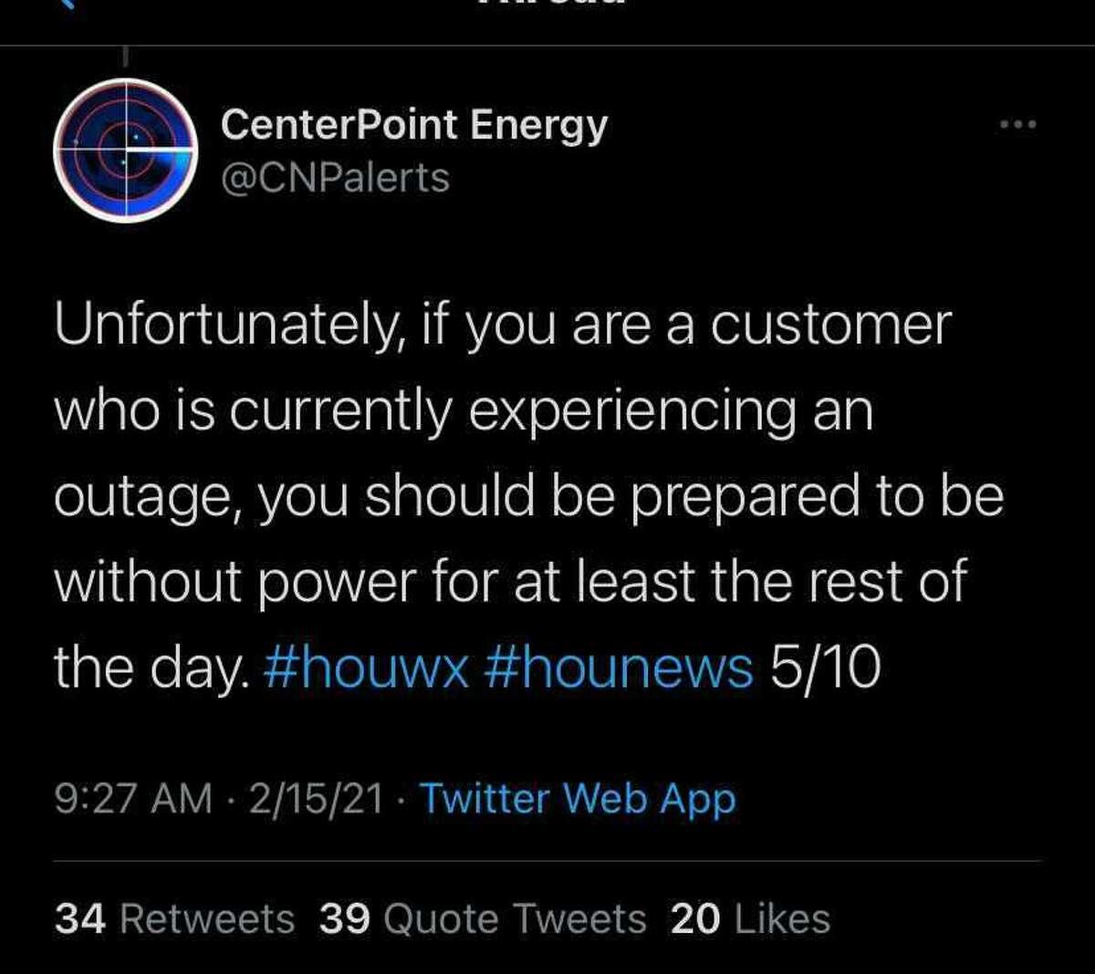 CenterPoint alert, Feb. 15, 2021