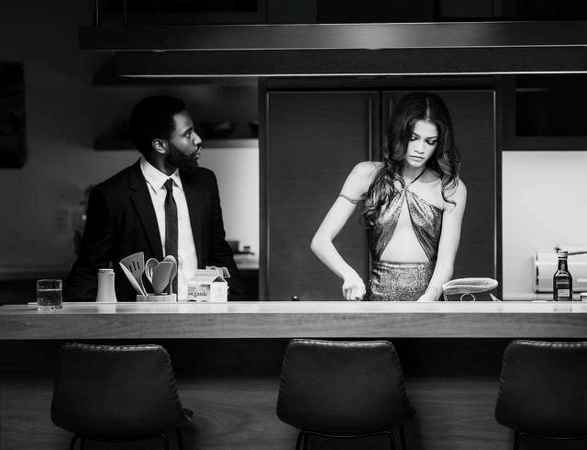 "Zendaya, right, and John David Washington in a scene from ""Malcolm & Marie."""