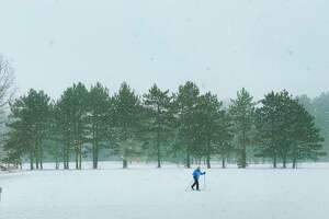 A cross country skier makes their way through the snow covered golf course at Saratoga Spa State Park on Monday, Feb. 15, 2021, in Saratoga Springs, N.Y.  (Paul Buckowski/Times Union)