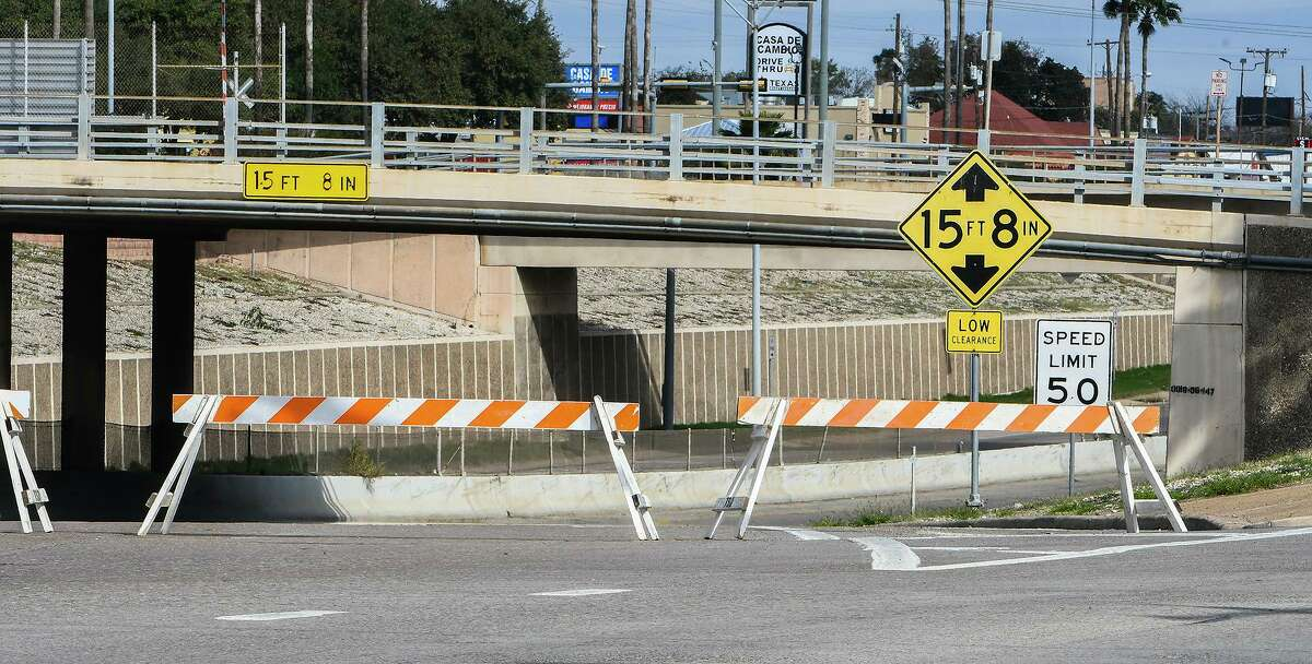 The on-ramp to IH-35 is closed off over concerns of black ice Monday morning, Feb. 15, 2021, as Laredo experiences temperatures in the low 20s following a winter storm the night prior.
