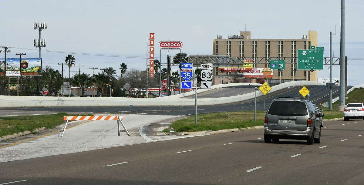 An on-ramp near Scott Street to IH-35 is closed off over concerns of black ice Monday morning, Feb. 15, 2021, as Laredo experiences temperatures in the low 20s following a winter storm the night prior.