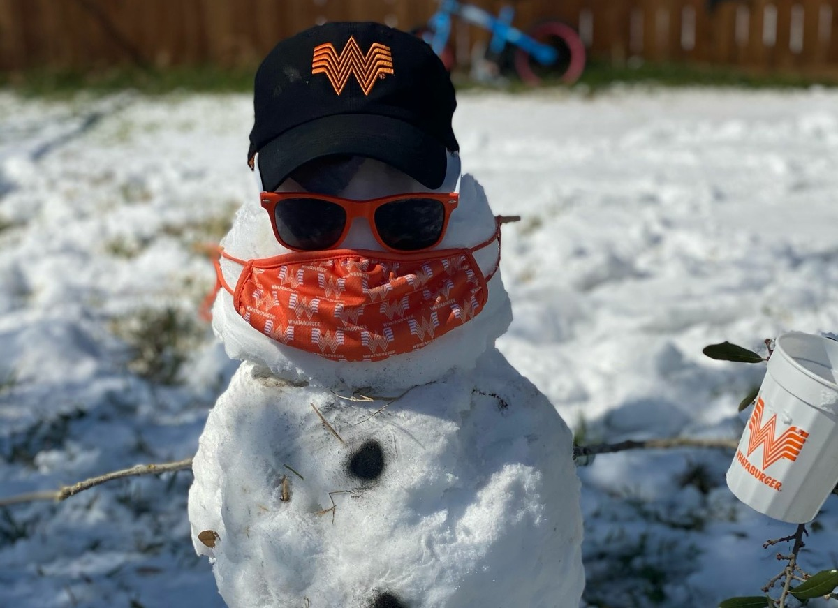 A reader submitted photo of a Whataburger snowman.