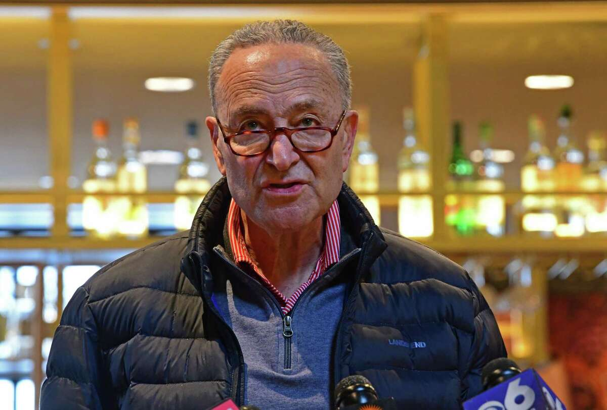 Senate Majority Leader Charles E. Schumer unveils a new restaurant relief fund modeled on the widely supported bipartisan RESTAURANTS Act at TORO Cantina on Monday, Feb. 15, 2021 in Colonie, N.Y. (Lori Van Buren/Times Union)