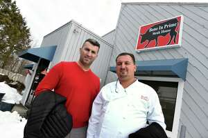 Bone in Prime co-owners Enzo Beskovic, left, and Fico Cecunjanin outside  the Cheshire eatery under construction on Feb.12, 2021.