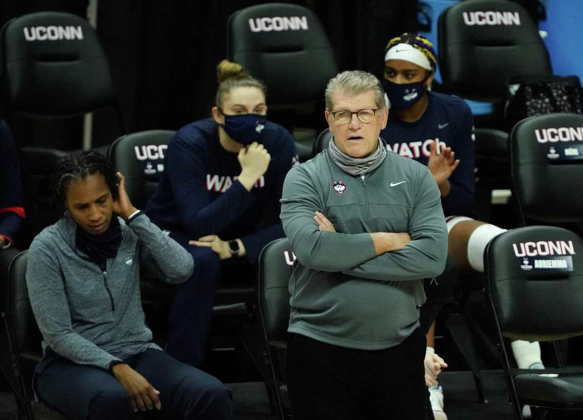 Feb 10, 2021; Storrs, Connecticut, USA; UConn Huskies head coach Geno Auriemma watches from the sideline as they take on the Seton Hall Pirates in the first half at Harry A. Gampel Pavilion. Mandatory Credit: David Butler II-USA TODAY Sports