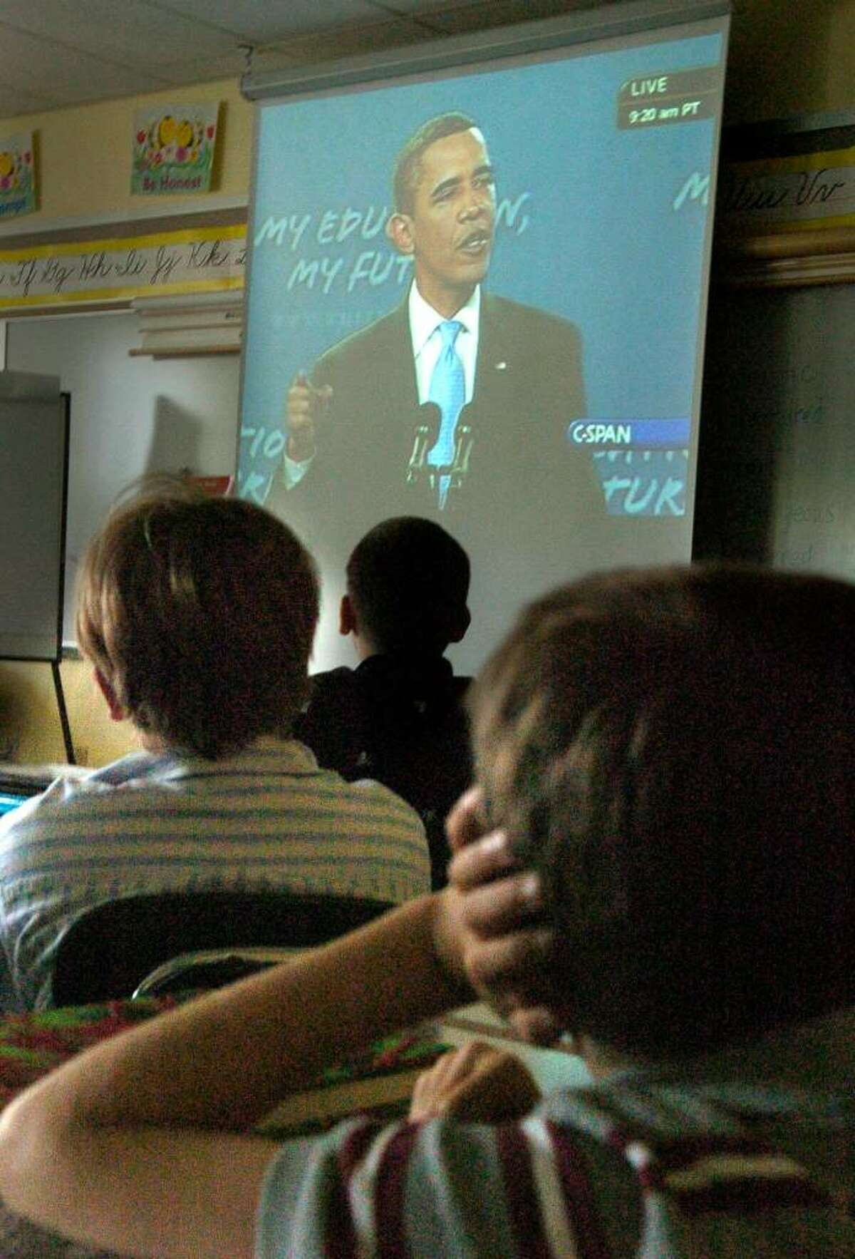 Fifth graders at Reed Intermediate School in Newtown listen to President Barack Obama's speech to school children Tuesday, Sept. 8, 2009