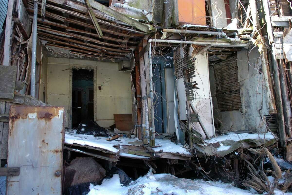 A tour of the Little Liberia houses in Bridgeport, Conn. Feb. 12th, 2010. Representatives from the city, the Mary & Eliza Freeman Center for History and Community, the National Trust for Historic Preservation, and the 1772 Foundation met at the property on Friday to assess the condition of the structures and to discuss grant options.