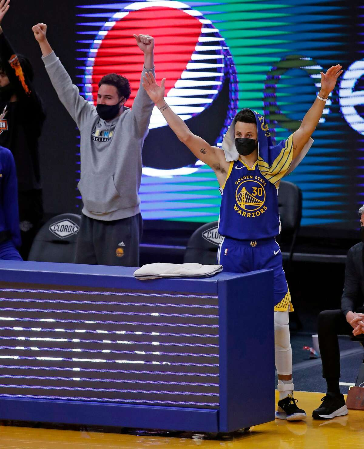If all goes as planned next season, Klay Thompson (left) won't be a spectator and will be in uniform alongside Stephen Curry.